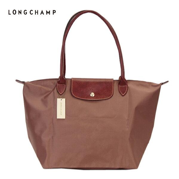 [長柄M號]國外Outlet代購正品 法國巴黎 Longchamp [1899-M號] 長柄 購物袋防水尼龍手提肩背水餃包 香檳金