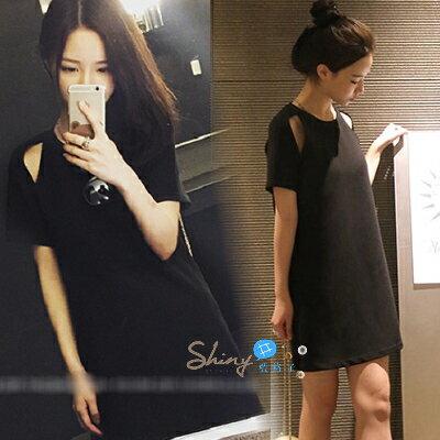 【V5167】shiny藍格子-流行春尚.純色圓領小露肩後拉鍊短袖連身裙