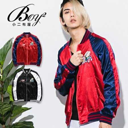☆BOY-2☆【NQ98027】橫須賀 美式潮流亮面電繡棒球外套 飛行外套 0
