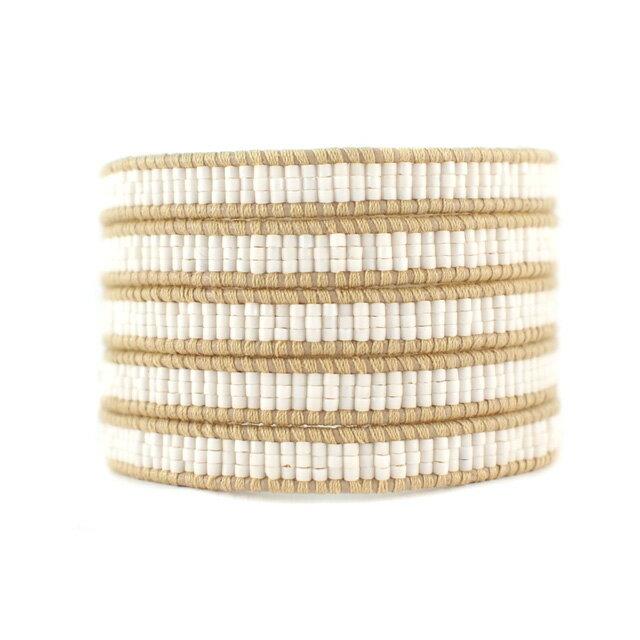 【現貨商品】【CHAN LUU】南洋風編織串珠米色皮繩手環/5圈(CL-BS-3652MatWht  06596300OR) 0