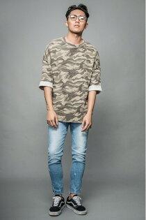 【VAIN】OVERSIZE夏日迷彩刷舊七分袖T恤