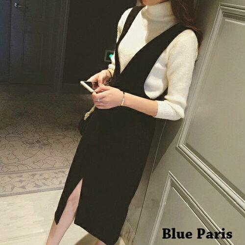 短洋裝 - 毛呢口袋設計吊帶連衣裙【29216】藍色巴黎 - 現貨+預購 0