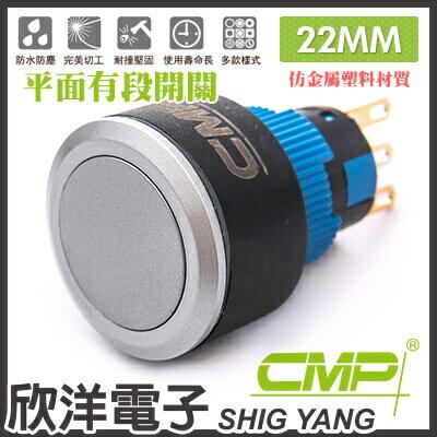 ※ 欣洋電子 ※ 22mm仿金屬塑料平面有段開關 P22002B