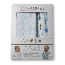 美國【Swaddle Designs】頂級多用途嬰兒包巾組 (藍圈圈+藍樹) - 限時優惠好康折扣