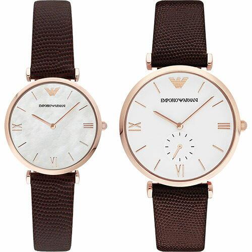 EMPORIO ARMANI/AR9042情人簡約對錶腕錶/白面40+32mm
