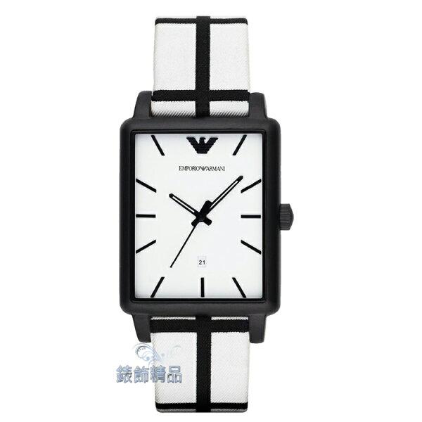 【錶飾精品】ARMANI手錶 亞曼尼表 空間創造 方形時尚腕錶 白面日期皮帶男錶 AR1856 全新原廠正品