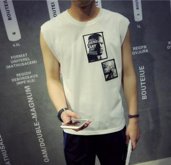 50%OFF【F011089C】貼布人像無袖背心上衣-短袖T襯衫運動明星款GDEXO