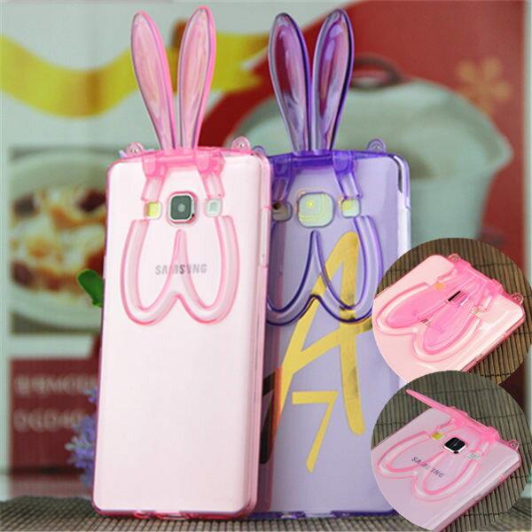 三星 Galaxy A7 新款透明兔耳朵支架手機殼 挂繩兔子矽膠保護套【預購】