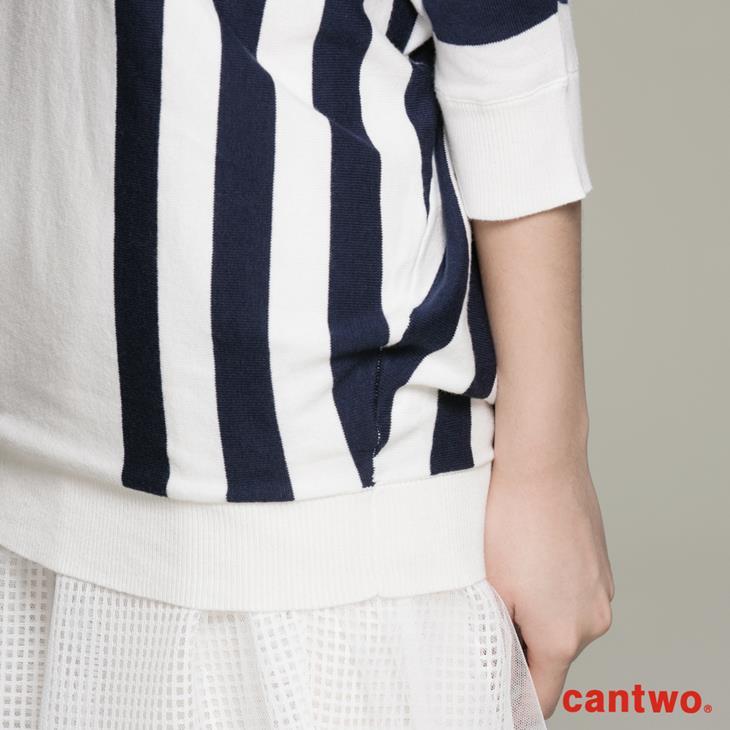 cantwo條紋落肩袖上衣(共二色) 4