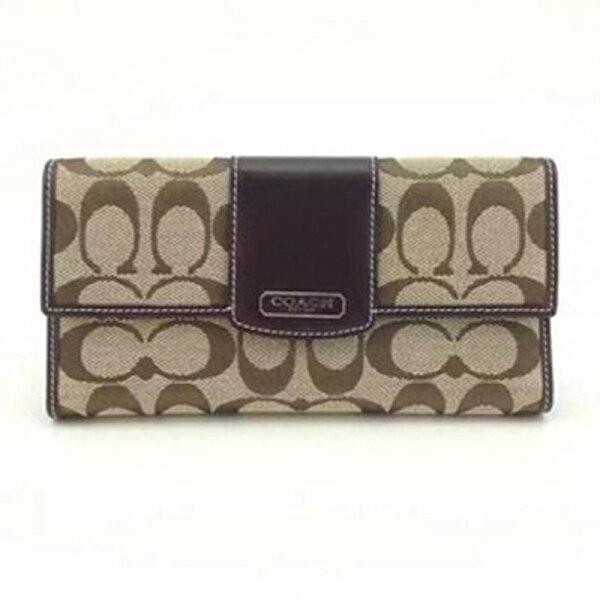 COACH錢夾42181 中夾帆布牛皮夾長零錢包手拿包卡包