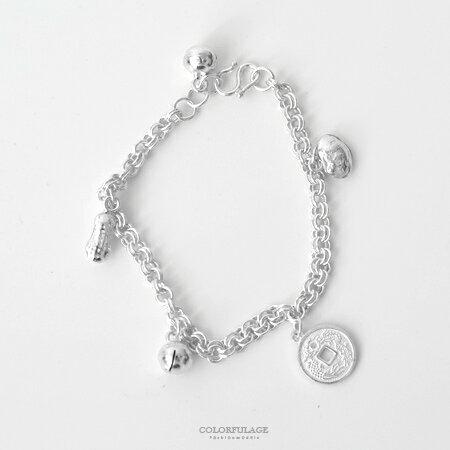 925純銀手鍊 吉祥如意鈴噹錢幣造型兒童手環 彌月送禮 抗過敏抗氧化【NPA27】 0