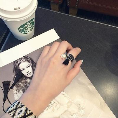 PS Mall  水鑽珍珠 流蘇裝飾食指戒指指環~G2146~