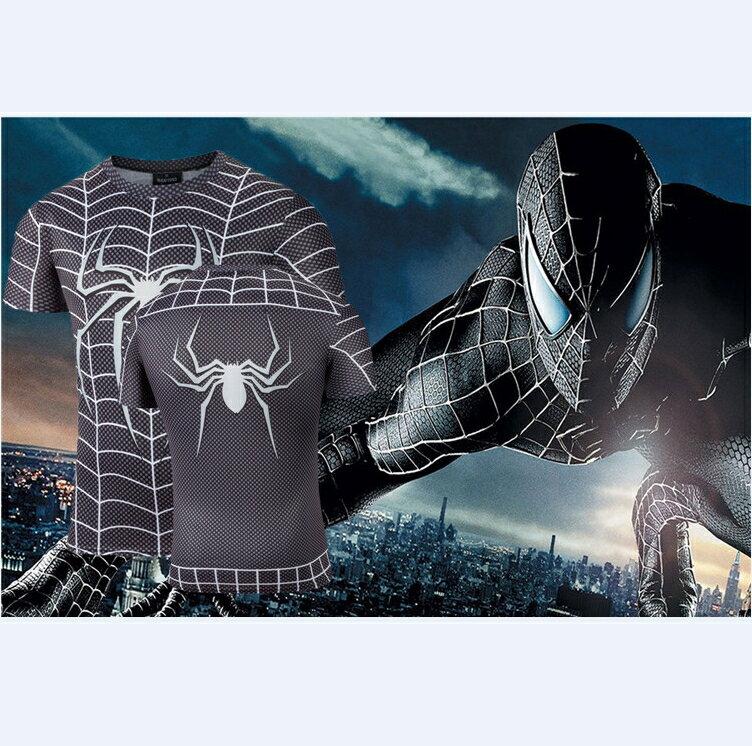 50%OFF【A012841C】暗黑蜘蛛人短T漫威卡通復仇者聯盟電影歐美街頭男女可穿英雄牛奶絲短T