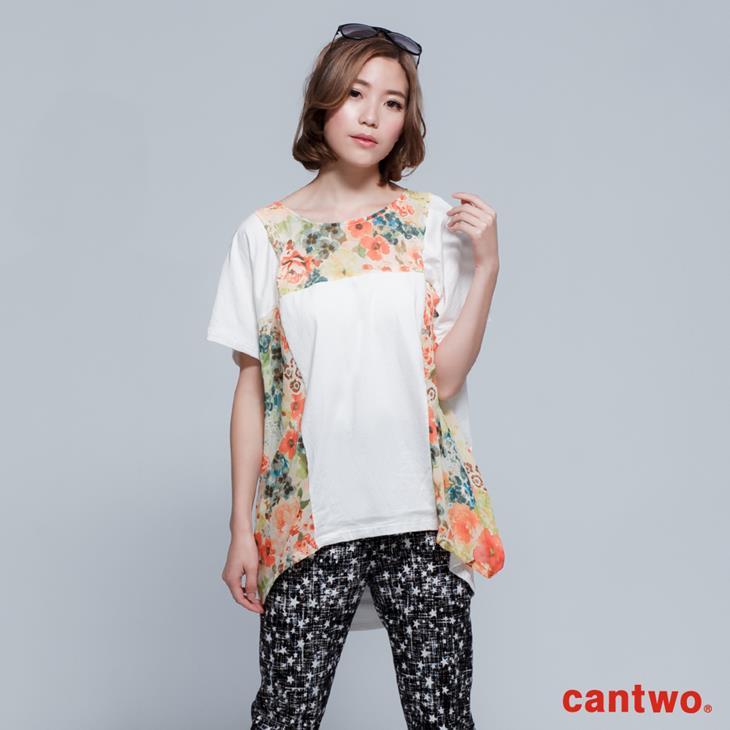 cantwo拼接印花長版T(共二色) 0
