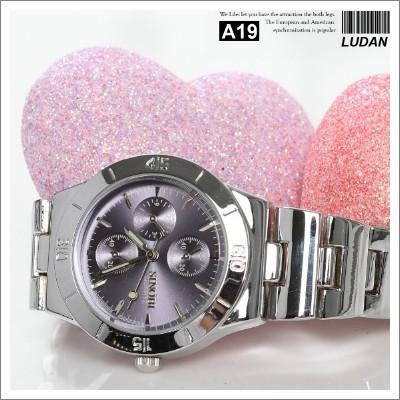 [愛戀鋼場 對錶系列]【A19】 時尚雜誌 近似SEIKO 星辰 三眼手錶 腕錶 情人對錶 (暗紫色)