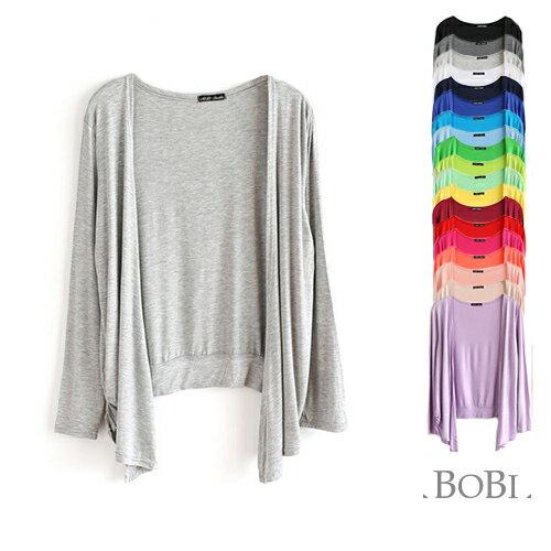 棉質外套  糖果色開襟罩衫短款長袖外套【MZKS1501】 BOBI  03/31 0