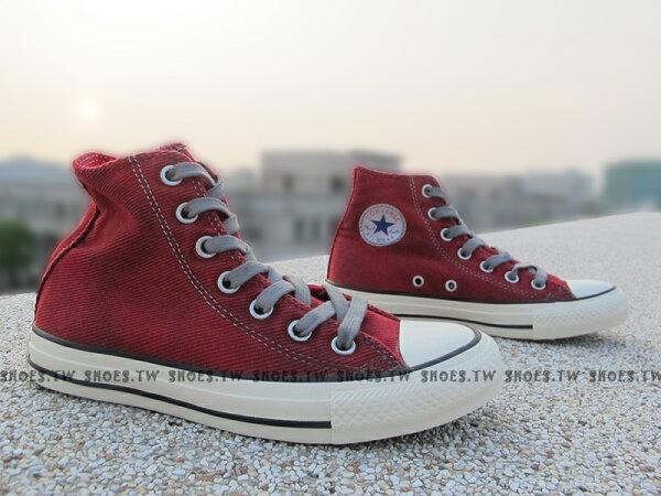 《限量5折》Shoestw【149467C】CONVERSE 帆布鞋 水洗 黑刷紋 高筒 斜紋布 紅色 女生尺寸