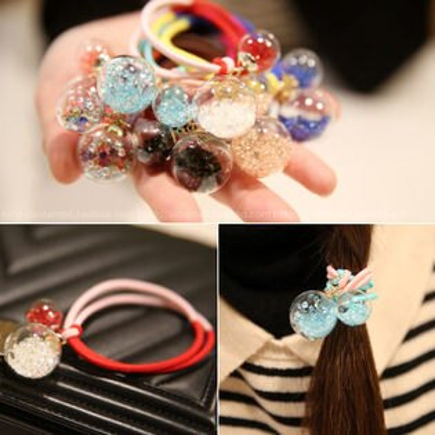 PS Mall 韓版水晶玻璃球雙股雙色皮筋髮圈髮繩 髮飾【G2036】