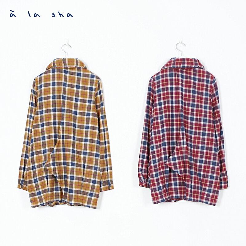 a la sha enco 格子造型領長版襯衫 3