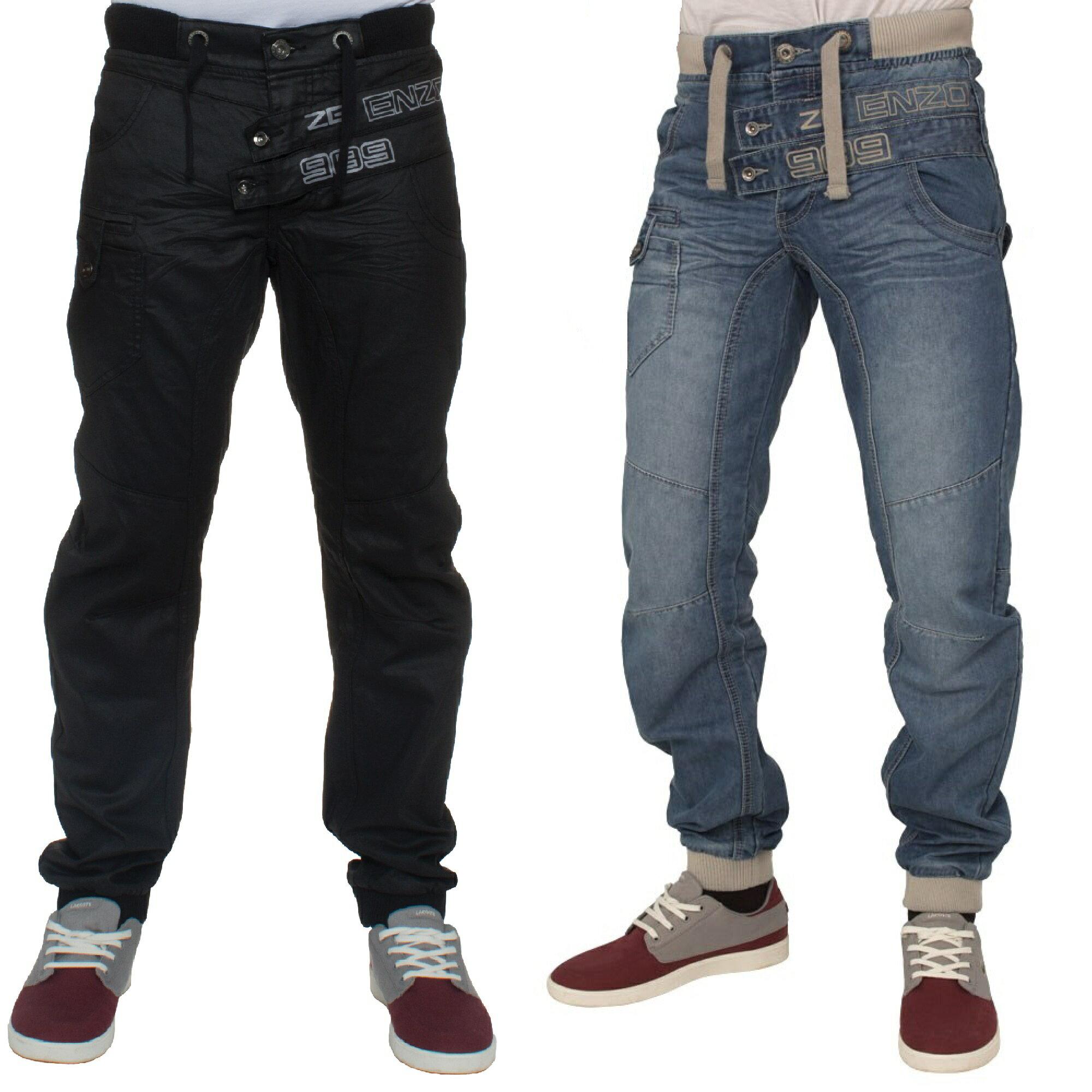 ENZO Mens Light Stonewash Cuffed Leg Denim Jogger Jeans