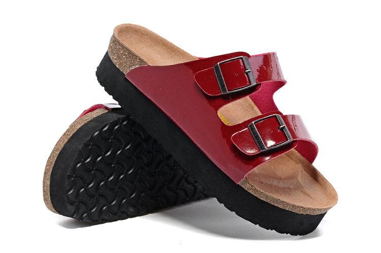 Arizona 厚底系列 夏季 男女款 懶人涼拖鞋 漆皮紅色 [Anson King]Outlet正品代購  birkenstock 2
