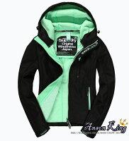 Superdry極度乾燥商品推薦[女款] Outlet英國 極度乾燥 Superdry Windtrekker 女款 風衣 連帽 防風 防水 外套 黑色/螢光綠