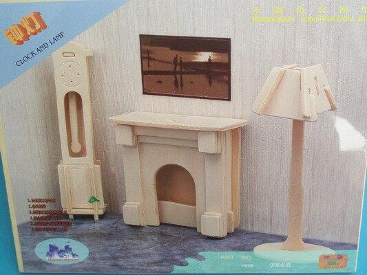 DIY木質3D立體拼圖.家具模型(P009鐘燈3件組)/一組入{促49}