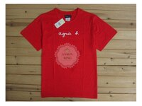 agnès b.到[Anson king] 正品 國外代購 agnes b.草寫 經典 LOGO 短袖 圓領 男款 T恤 紅