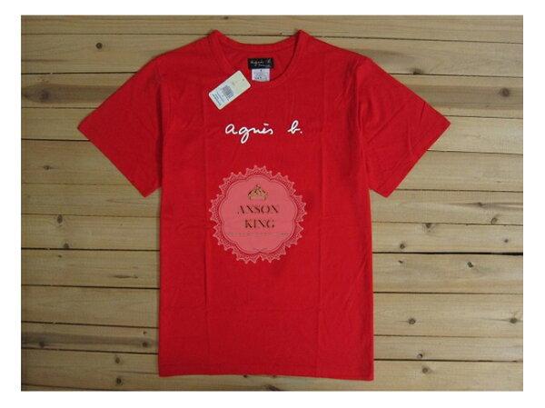[Anson king] 正品 國外代購 agnes b.草寫 經典 LOGO 短袖 圓領 男款 T恤 紅