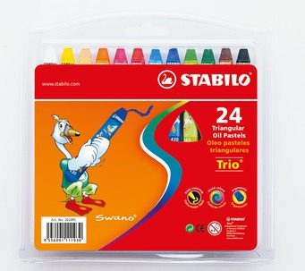 STABILO 德國天鵝牌 trio系列 兒童用油性粉蠟筆 膠盒組 24色24支裝(型號:2624PL)