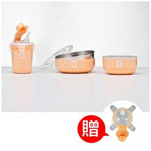 【本月贈市價$160-杯上蓋】美國【Kangovou】 小袋鼠不鏽鋼安全兒童餐具簡配組(奶油橘) 0