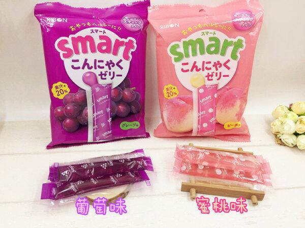 有樂町進口食品 日本進口 RIBON 立夢 果凍條 葡萄味/水蜜桃 10入/包 150g 4903316614175