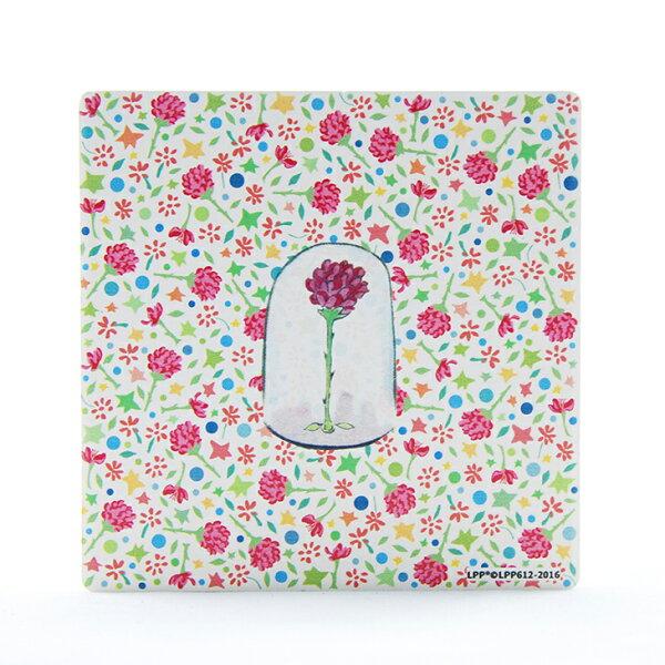 小王子授權系列 - 吸水杯墊:【 玻璃罩裡的玫瑰花 】 ( 圓 / 方 )