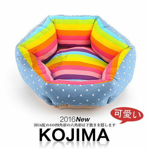 《日本kojima》彩虹涼夏牛仔風睡墊 - 六角款 / 狗床貓窩 / 寵物睡床