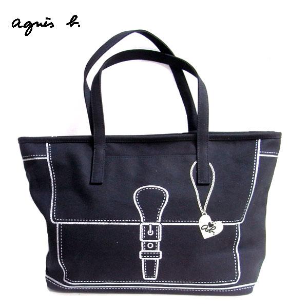 【agnes b.】ab heart 燙銀皮帶塗鴨托特包(大/黑)日本製正品