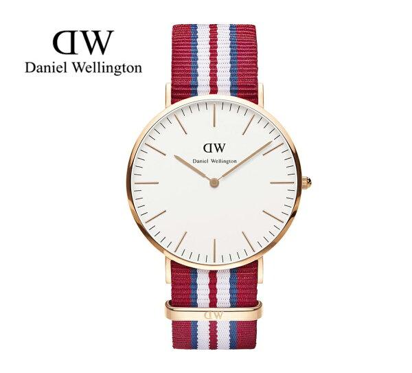 瑞典正品代購 Daniel Wellington 0112DW 玫瑰金 尼龍 帆布錶帶 男錶手錶腕錶 40MM
