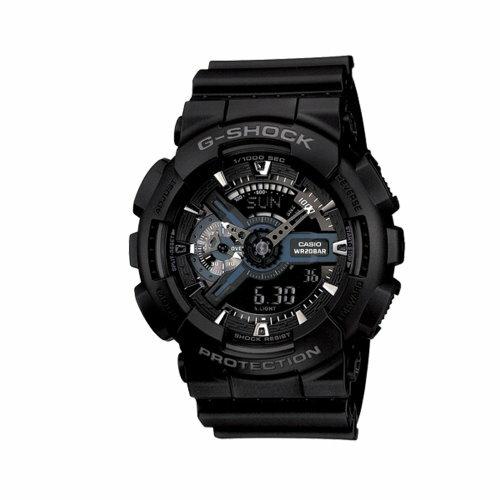 CASIO G~SHOCK 金屬光芒閃耀重機風格雙顯錶 GA~110~1BDR