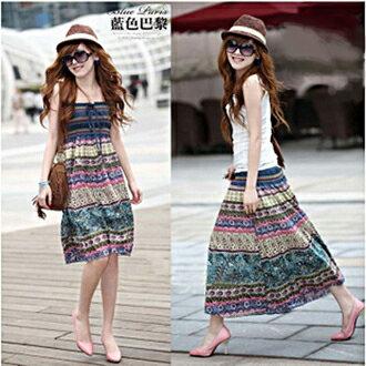 波西米亞亞麻洋裝 / 長裙 (可兩穿)【27103】藍色巴黎 《 5色》現貨+預購 0
