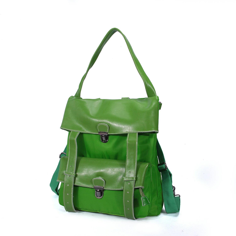 BEIBAOBAO夏季旅行防水布配真皮兩用後揹包(橄欖綠) 2