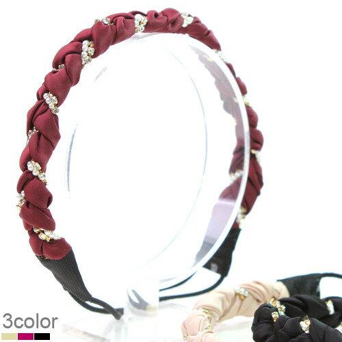 BHI1199-法國品牌RenaChris 超美韓國布藝珍珠晶鑽辮子髮圈 髮帶【韓國製】