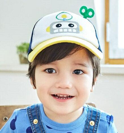 Lemonkid◆可愛俏皮機器人 透氣半空頂鴨舌帽~黃色帽沿
