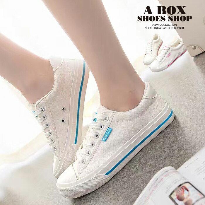 格子舖*【AAY11】基本款百搭時尚簡約 綁帶布面鞋帆布鞋 2色 1