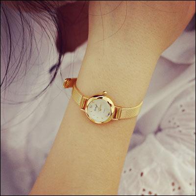 男錶女錶情侶ManStyle潮流嚴選金色石英錶小錶盤細帶手鏈錶時尚手錶【09S0419】