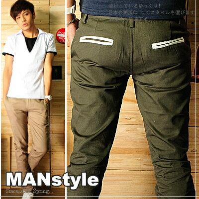 ☆ManStyle☆【A1G0572】韓版型男描邊口袋素面窄管褲工作褲長褲-5色