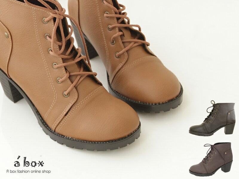 格子舖*【KDWA1389】MIT台灣製 韓版摩登皮革素面鈕扣綁帶式6CM粗跟超舒適短靴 3色 - 限時優惠好康折扣