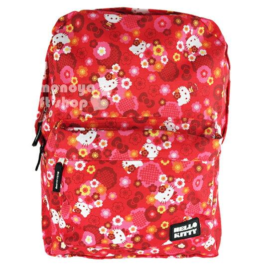 〔小禮堂〕Hello Kitty 尼龍後背包~紅多動作.和服.花.蝴蝶結~