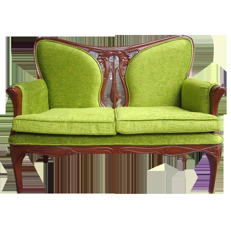 花卉雕刻雙人沙發椅 100^%印尼桃花心木 新藝術時期風格