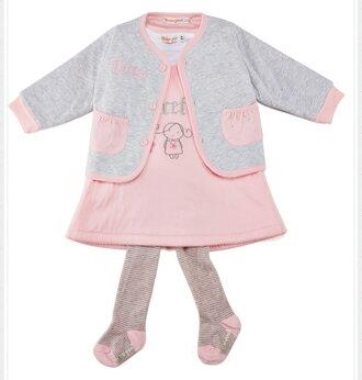☆Babybol☆粉色系織針保暖套裝 外套 背心裙 上衣 褲襪 四件組套裝【24127】 5
