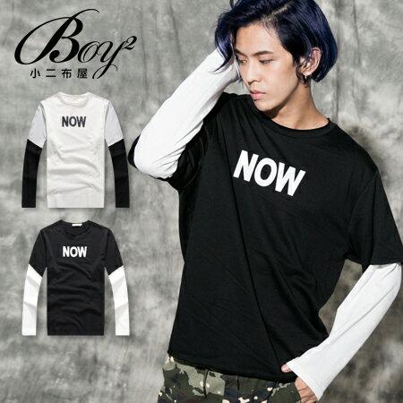 ☆BOY-2☆【NQ96032】長袖上衣 NOW假兩件式長T 0