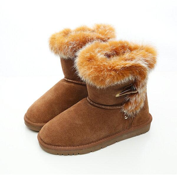 2MUCH象牙釦真牛皮短筒雪靴-駝色(36-40)